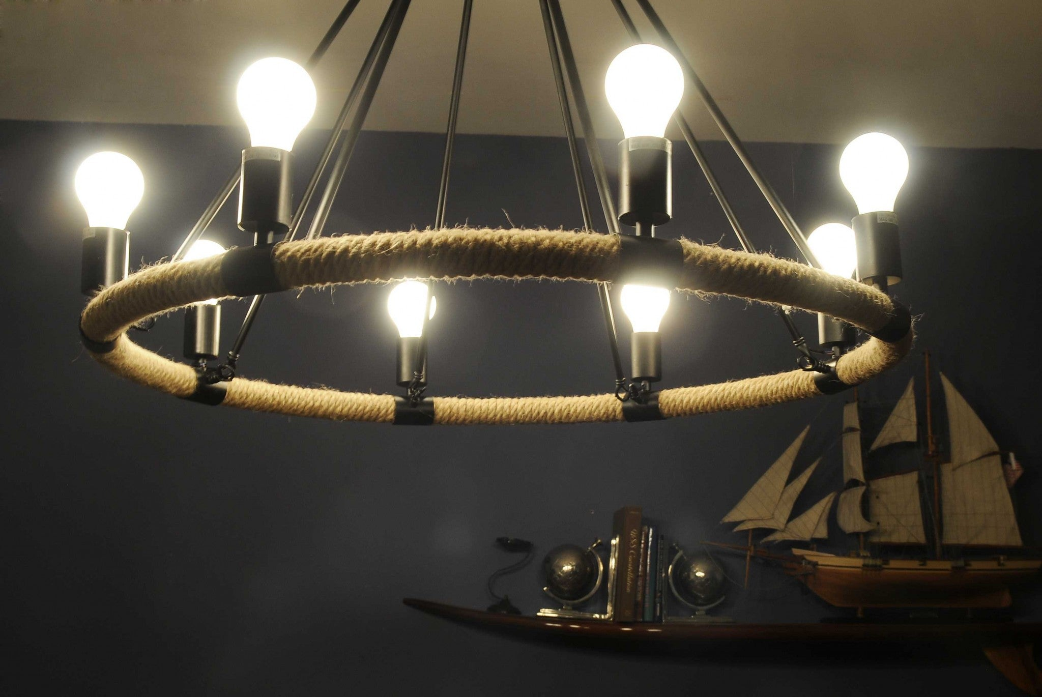 "32"" x 37"" x 32"" 8 Bulbs, Rope - Pendant Lamp"