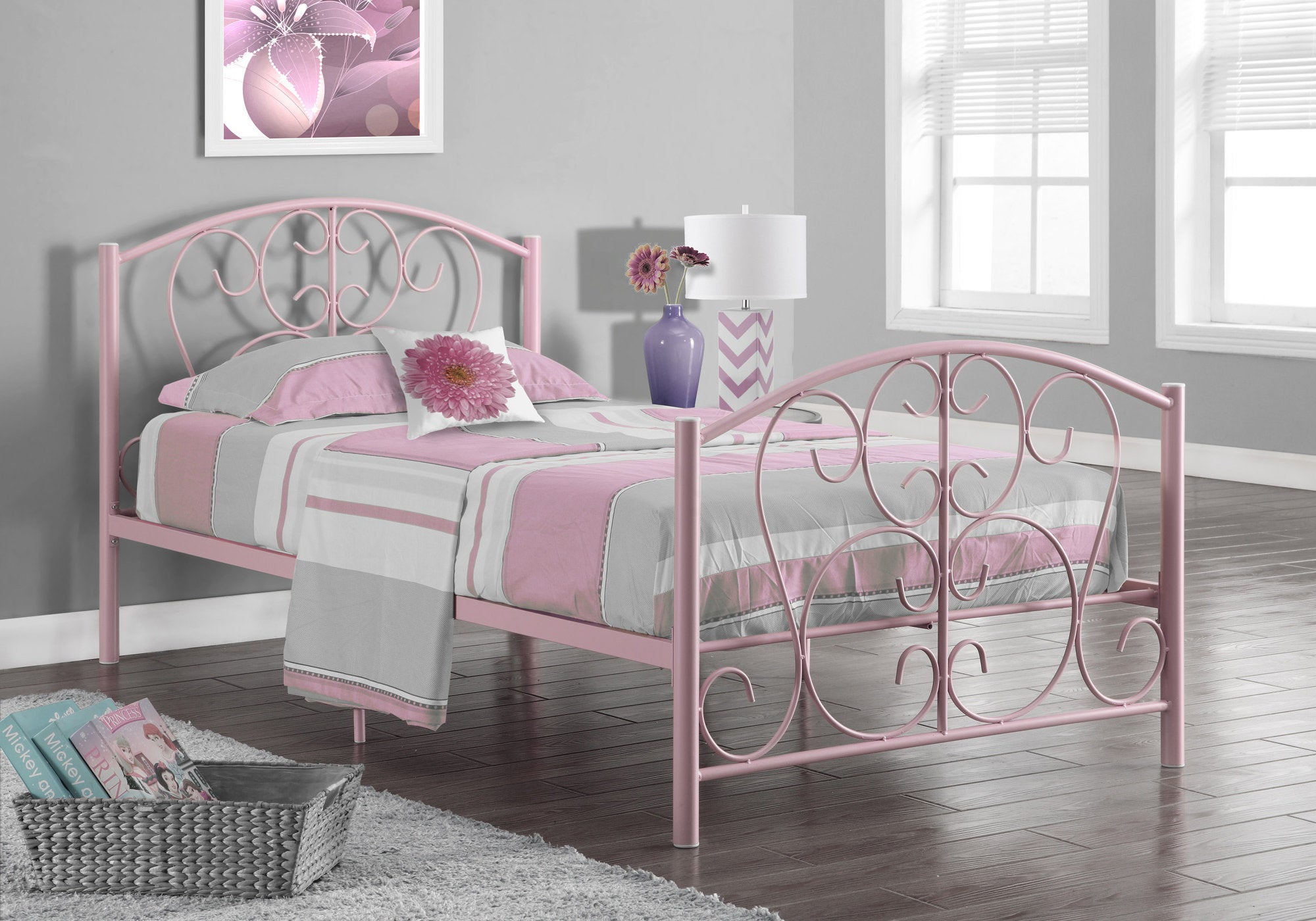 "41"" X 78"" X 37"" Pink Metal Twin Bed Frame"