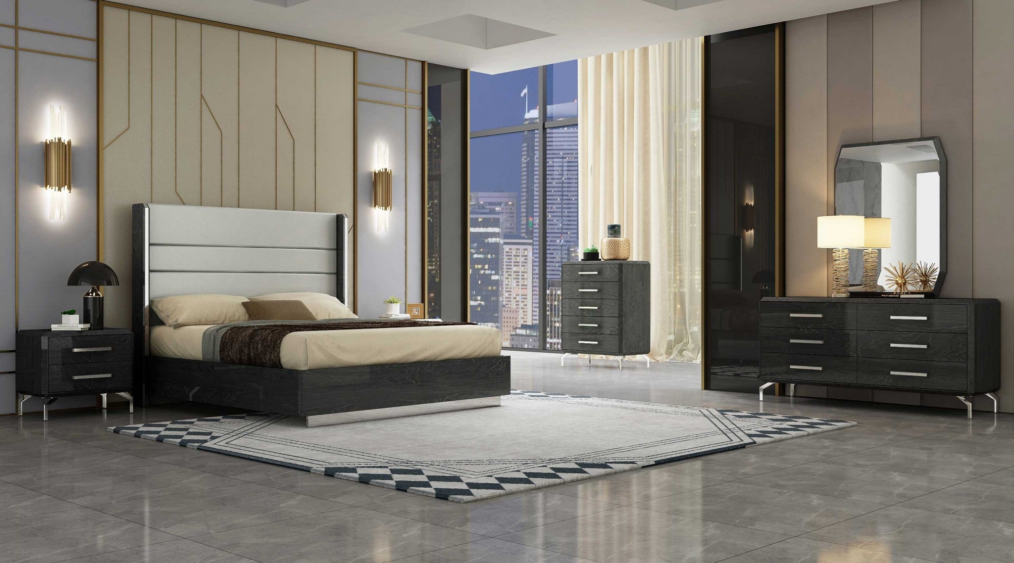 "76"" X 80"" X 60"" Gray Stainless Steel King Bed"