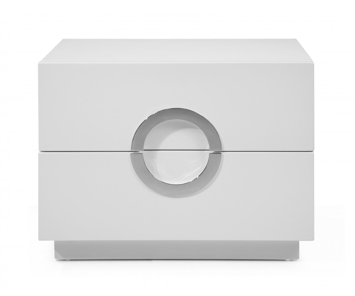 "24"" X 18"" X 18"" White Stainless Steel Nightstand"