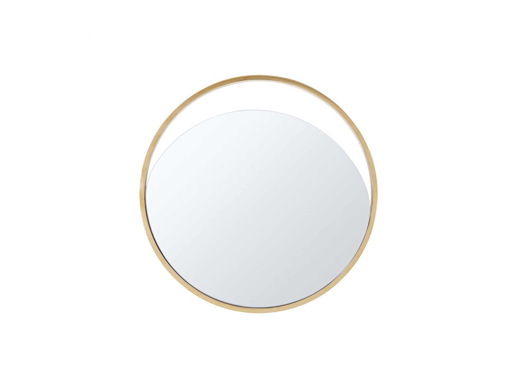 "23"" X 1.5"" X Black Polished Gold Glass Small Round Mirror"