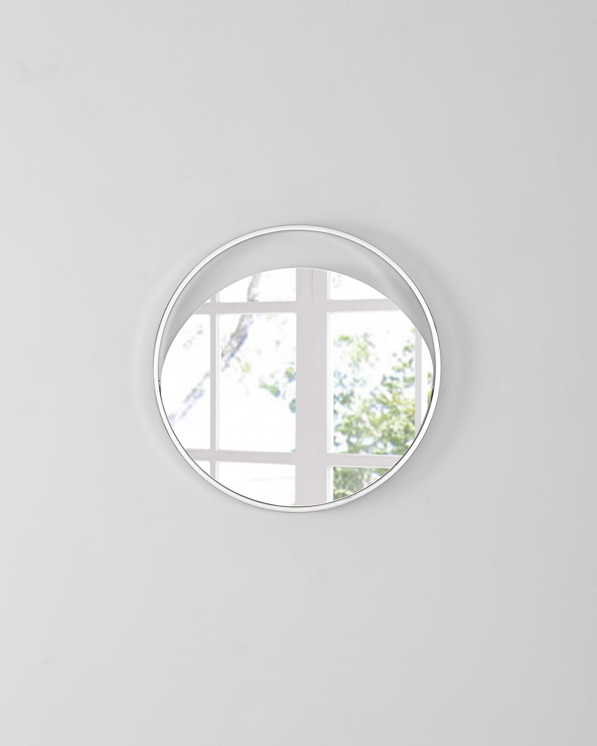 "23"" X 1.5"" X White Glass Small Round Mirror"