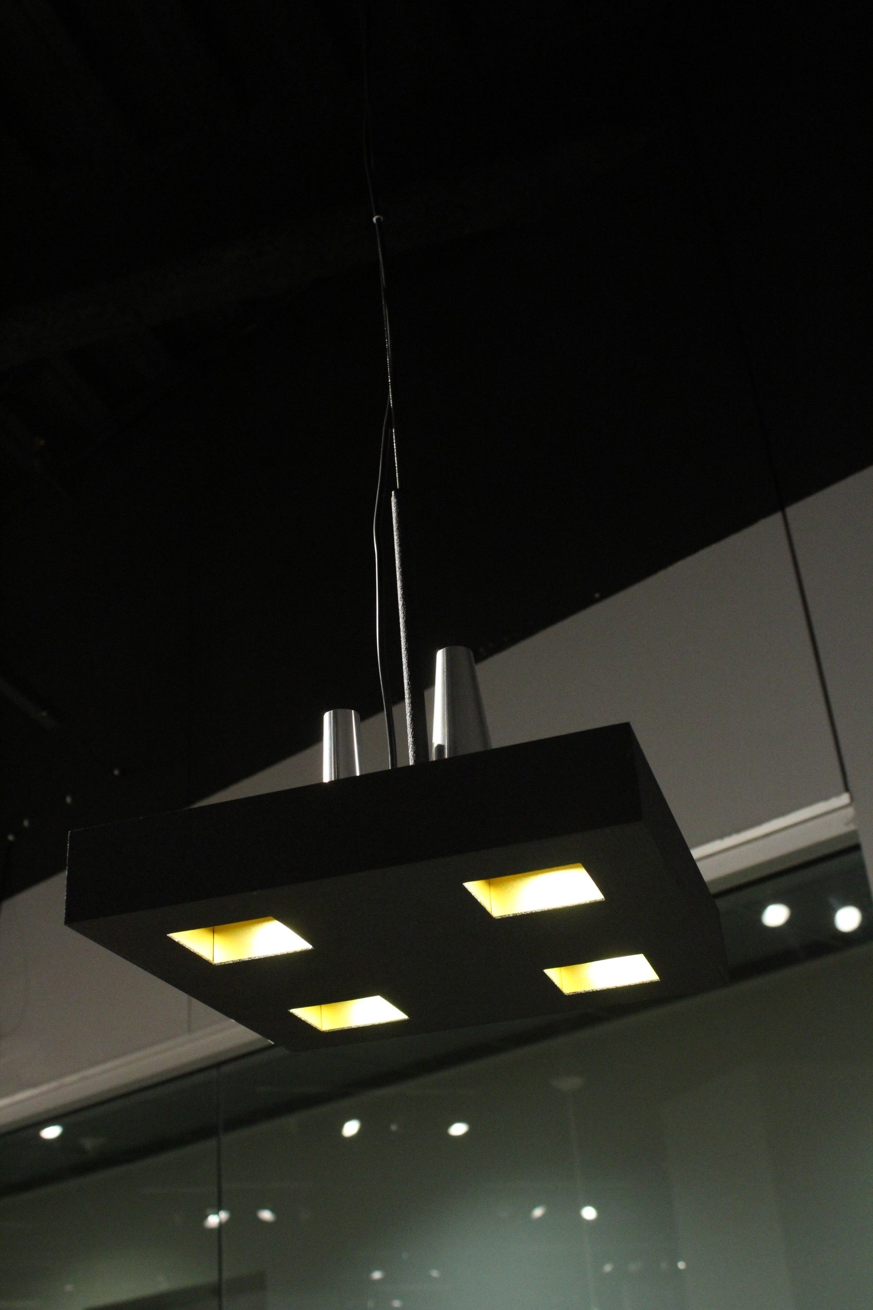 "14"" X 14"" X 59"" Black Stainless Steel Pendant Lamp"
