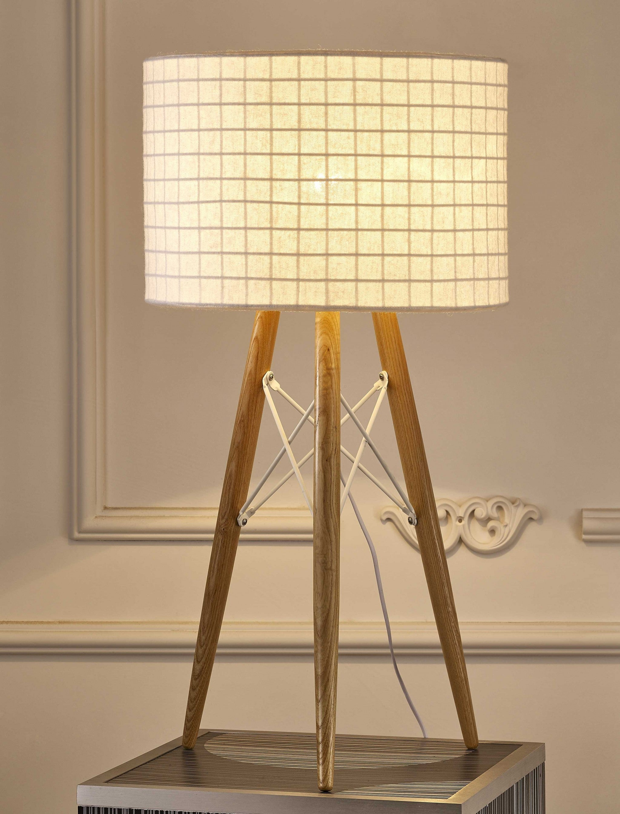 "11"" X 11"" X 21"" White Fabric Table Lamp"