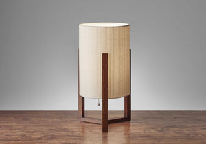 Walnut Wood Finish Cylindrical Linen Shade Table Lamp