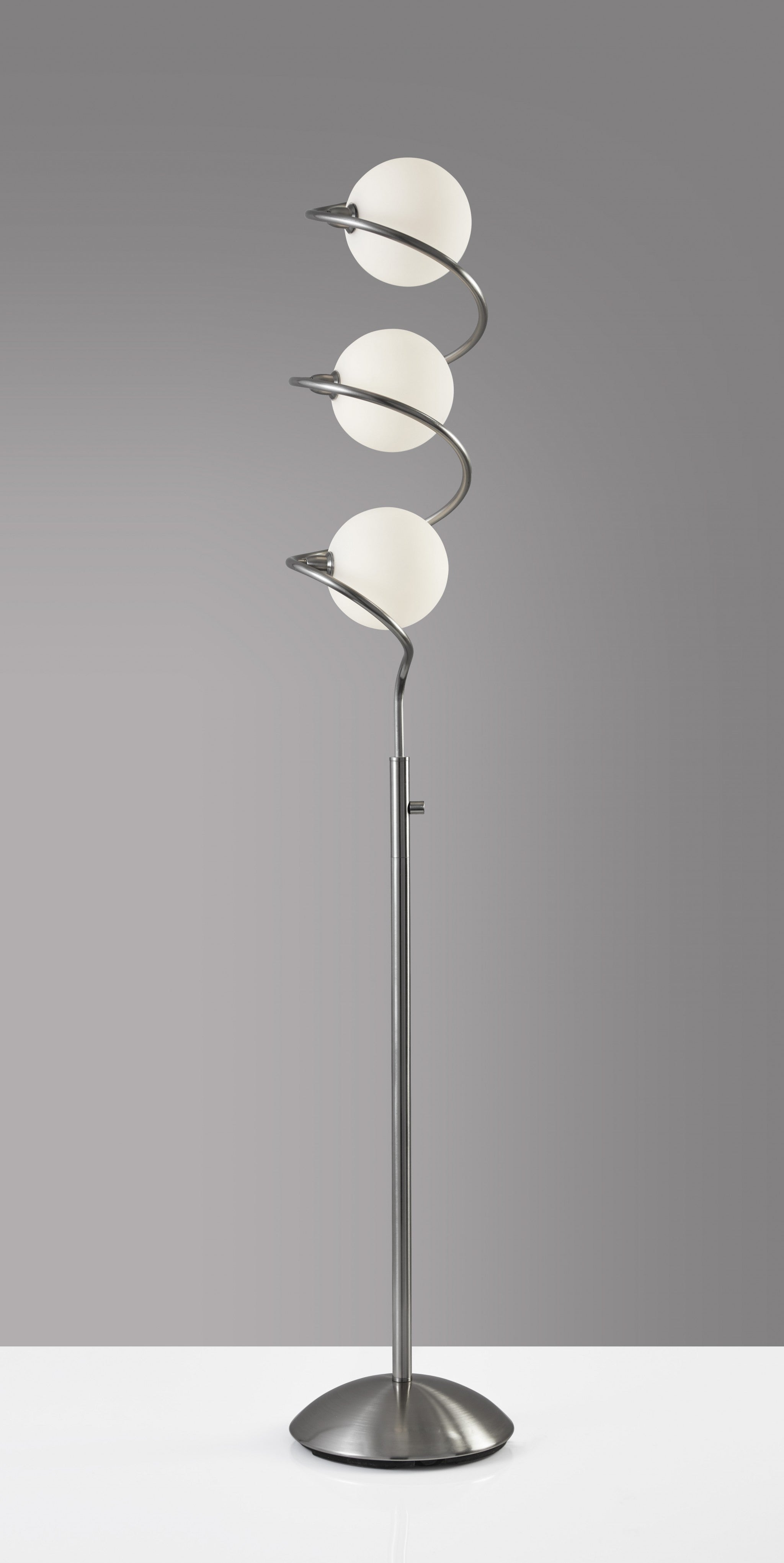 "11"" X 11"" X 64.5"" Brushed Steel Metal LED Floor Lamp"