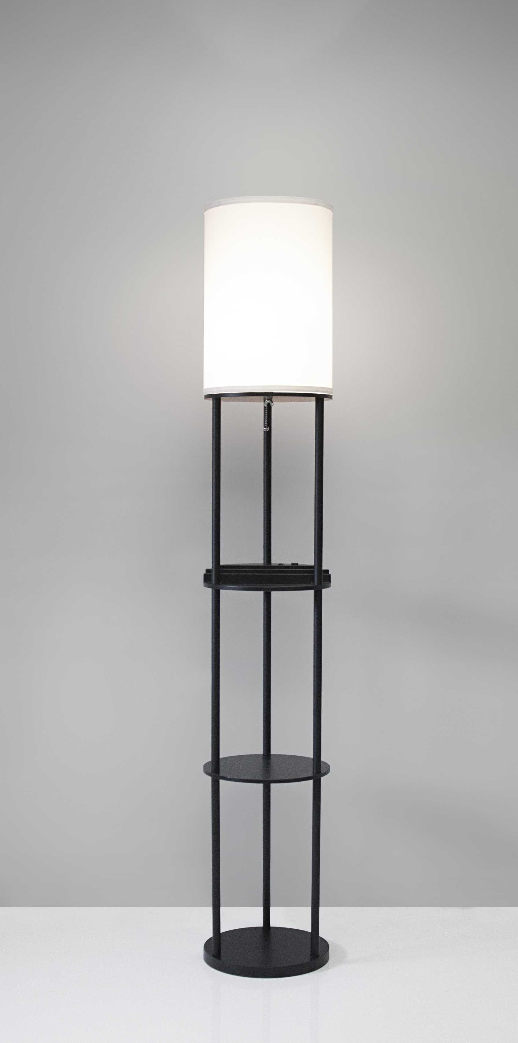 "11"" X 11"" X 66.5"" Black Wood Station Shelf Floor Lamp"