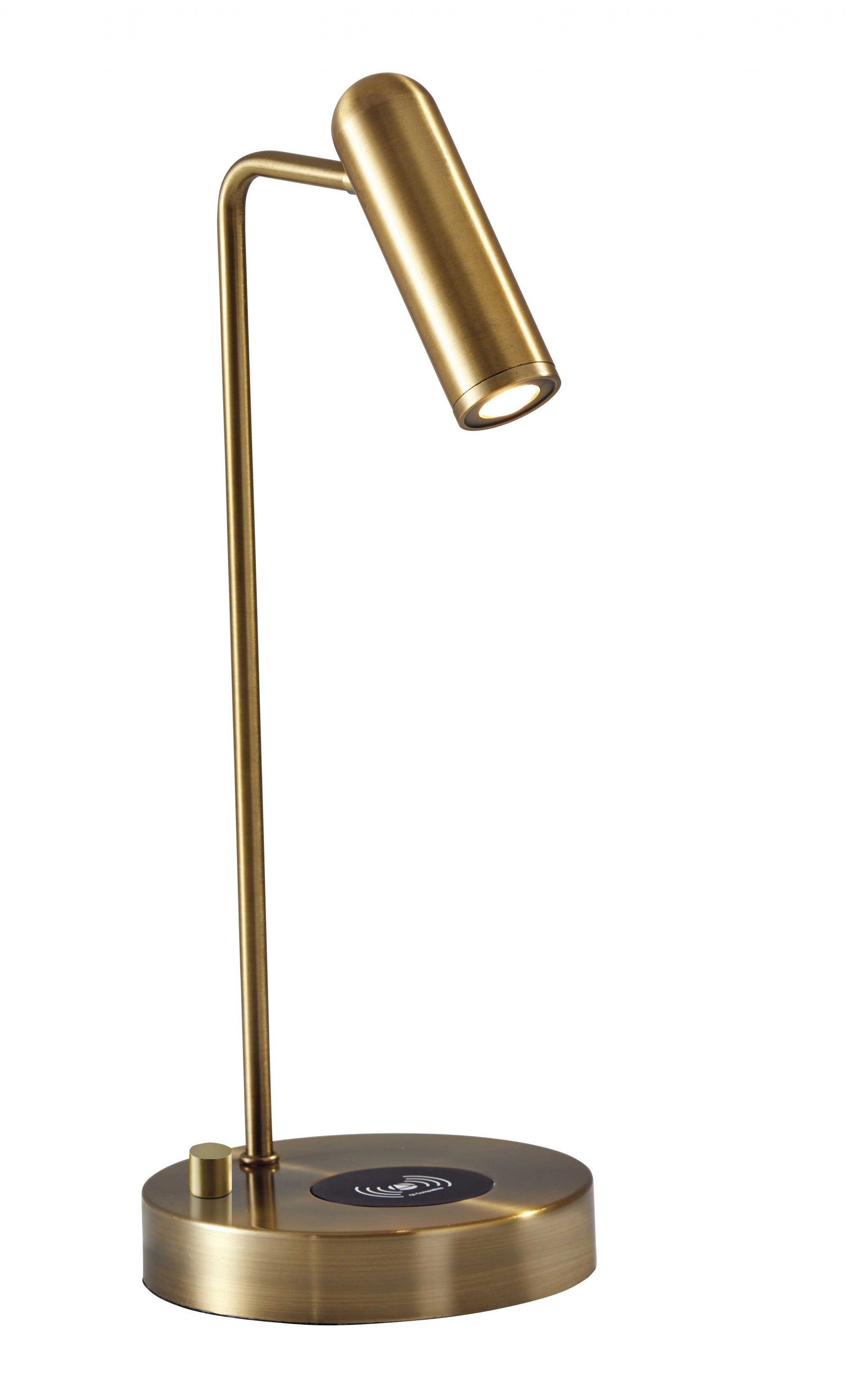 "6"" X 8"" X 16.5"" Brass Metal LED Desk Lamp"