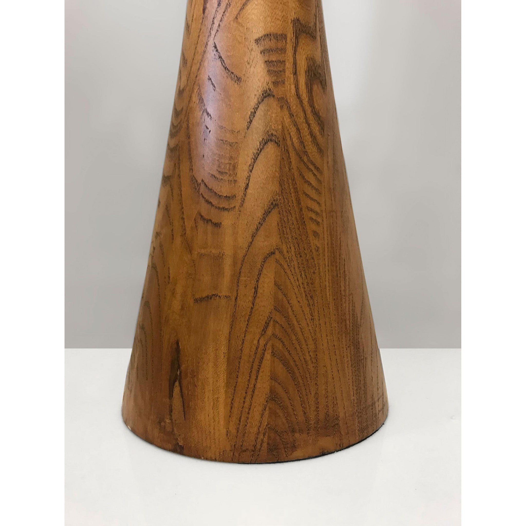 Sleek Walnut Wood Finished Floor Lamp with Frosted Glass Shade