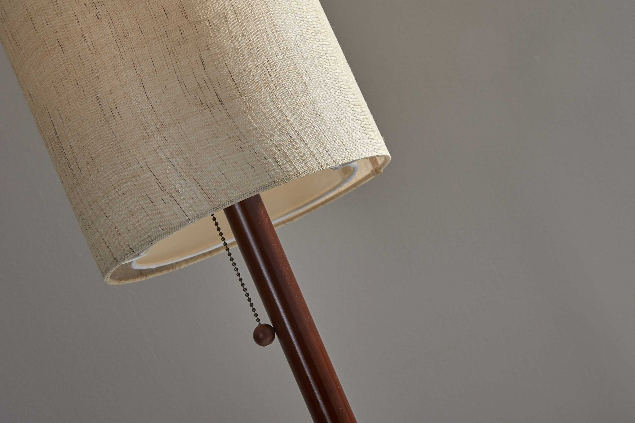 Walnut Wood Finish Floor Lamp with Slim Cylindrical Shade