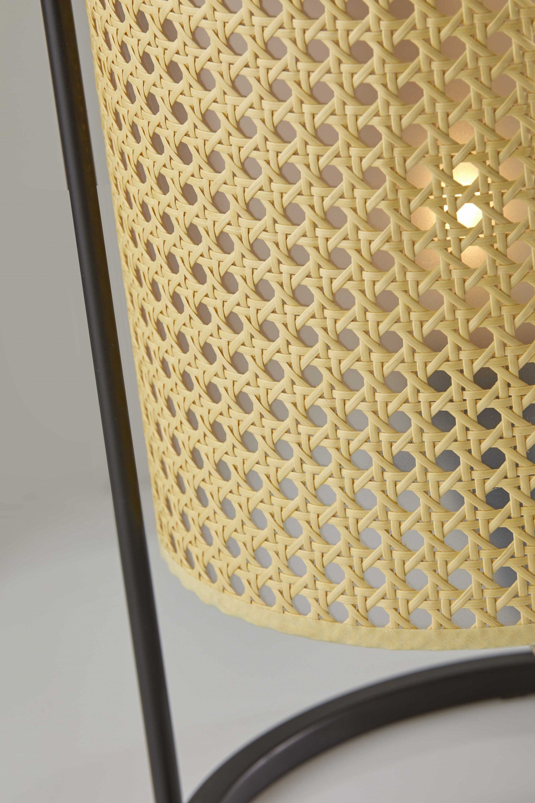 Tall Fashionable Cane Shade Table Lantern Lamp