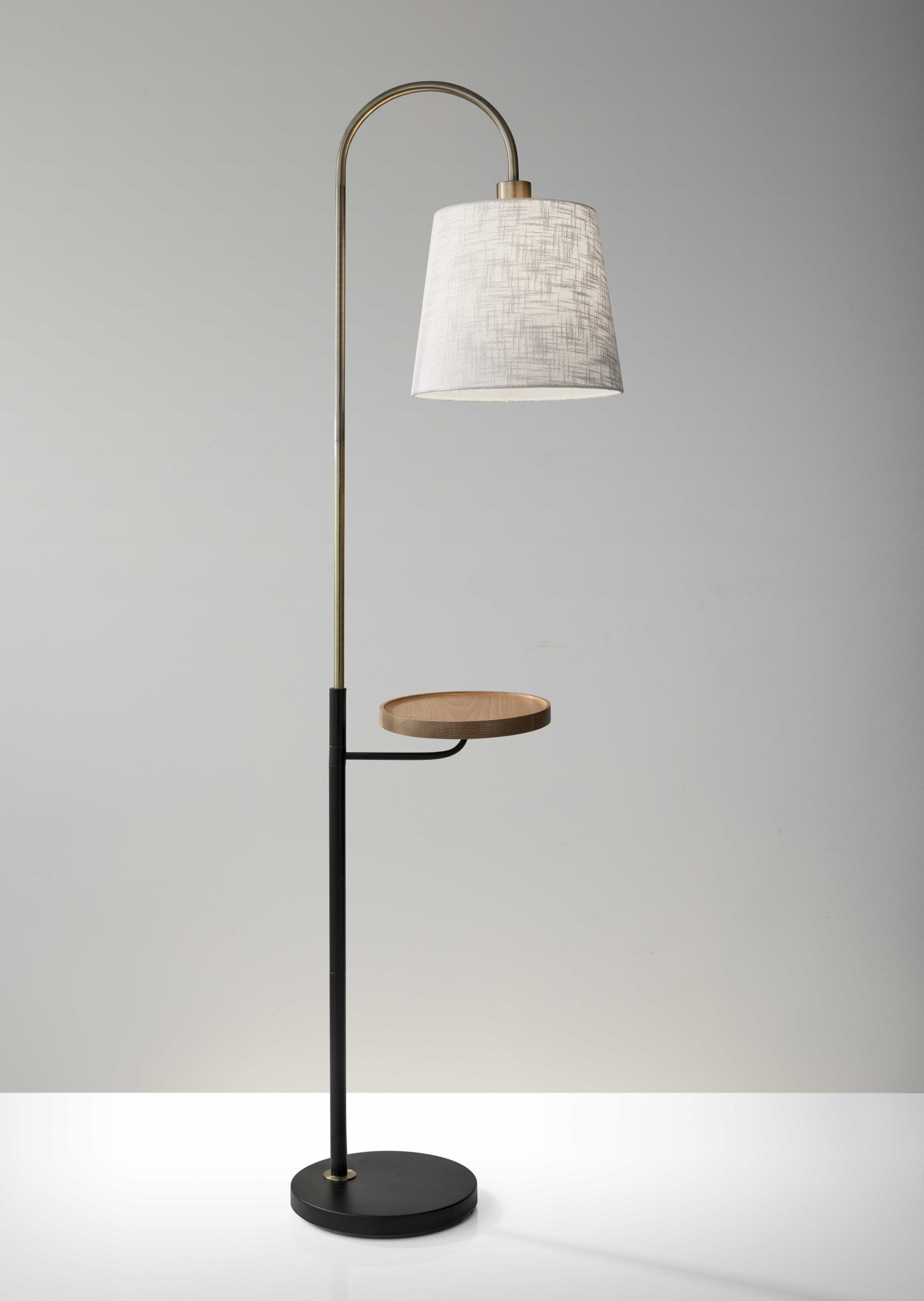 "11"" X 18.5"" X 65"" Brass Metal/Fabric Shelf Floor Lamp"