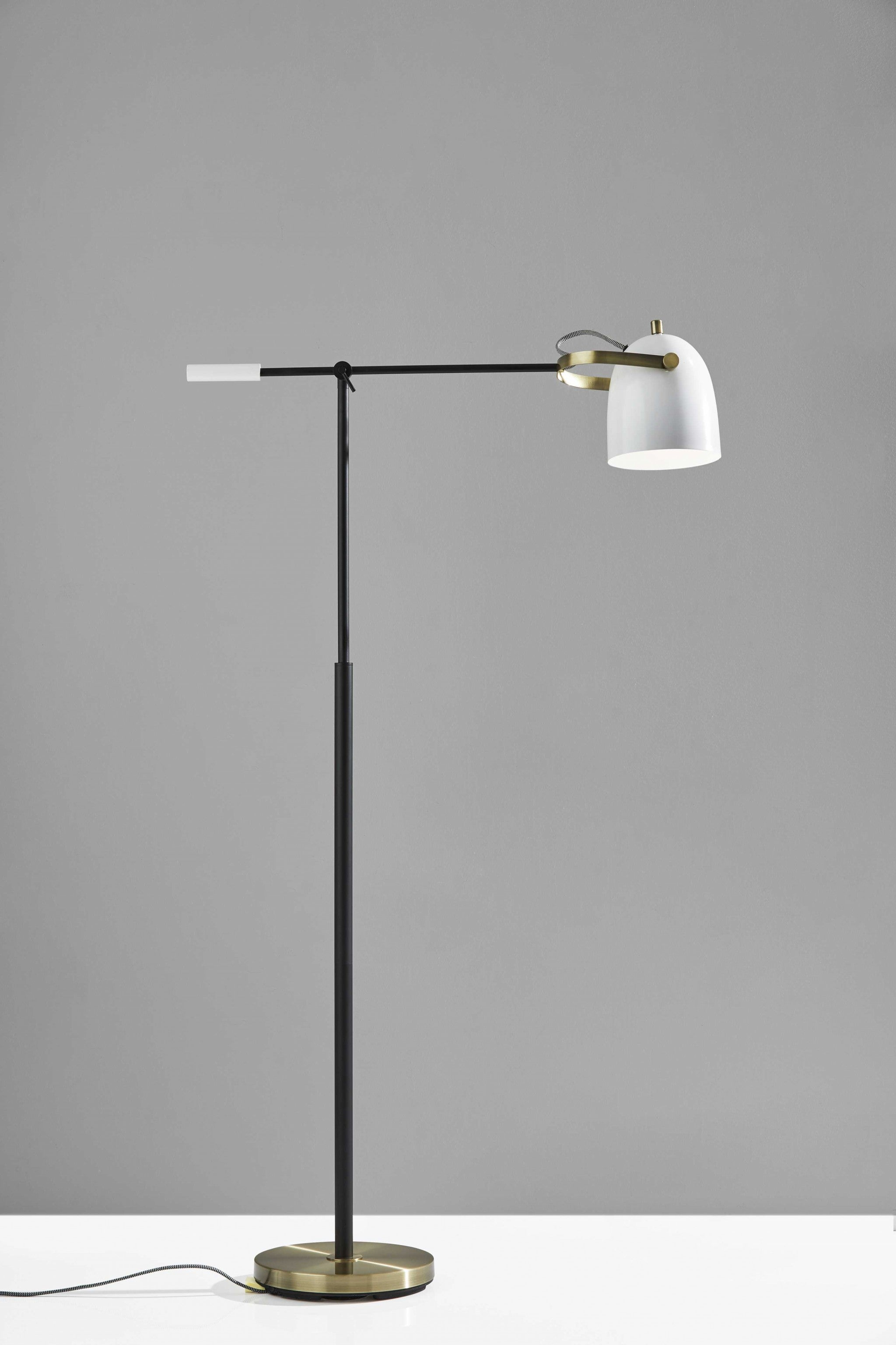 Matte Black and Antique Brass Metal Floor Lamp with Adjustable Arm and White Metal Shade