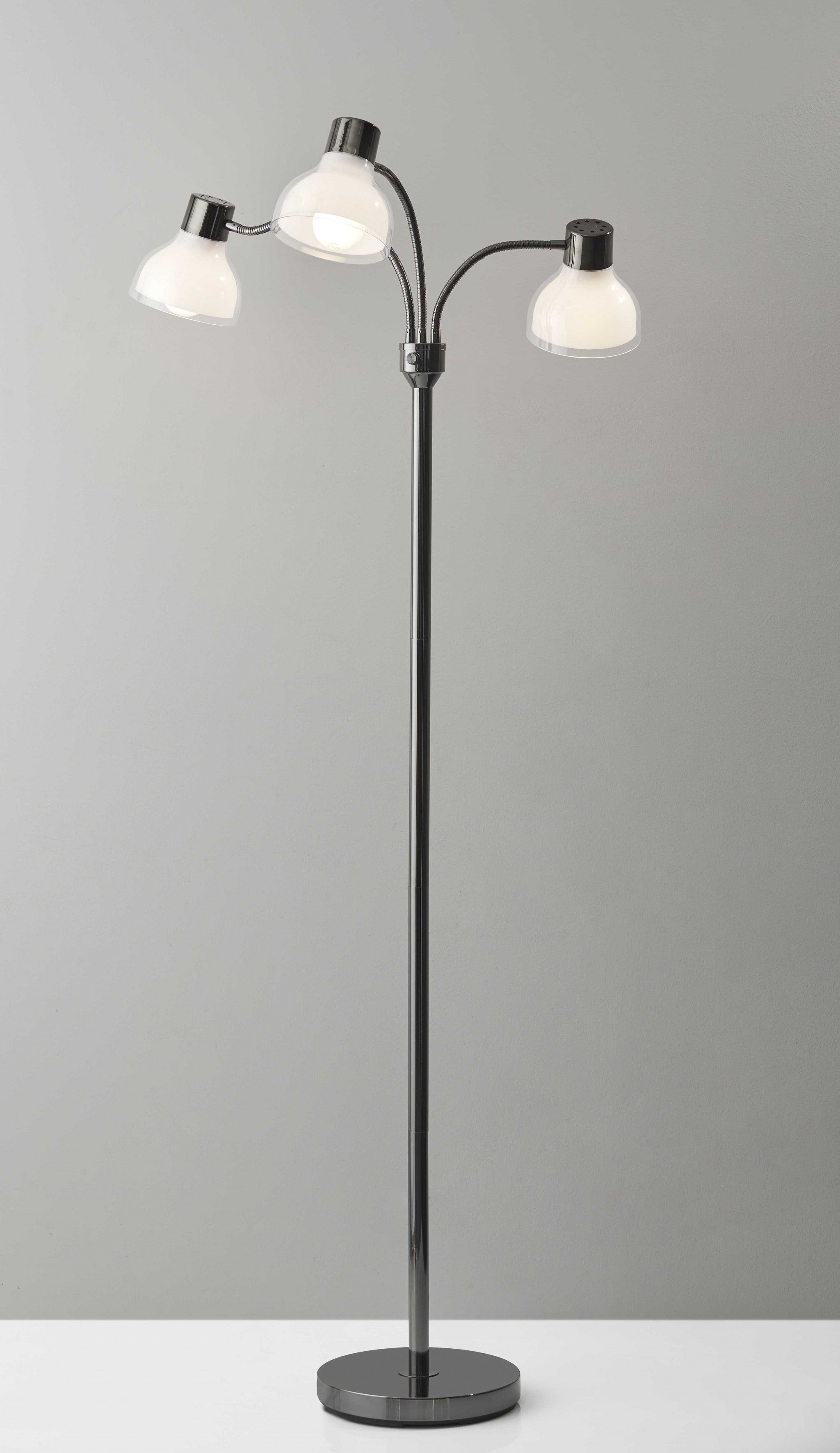 Adjustable Three Light Floor Lamp in Black Nickel Finish With Frosted Inner Shades