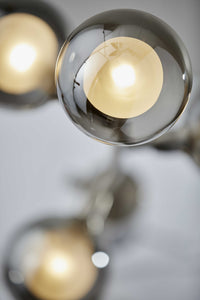 Contemporary Five Light Floor Lamp with Brushed Steel Metal Pole Dual Layered Smoked and Frosted LED Glass Globes