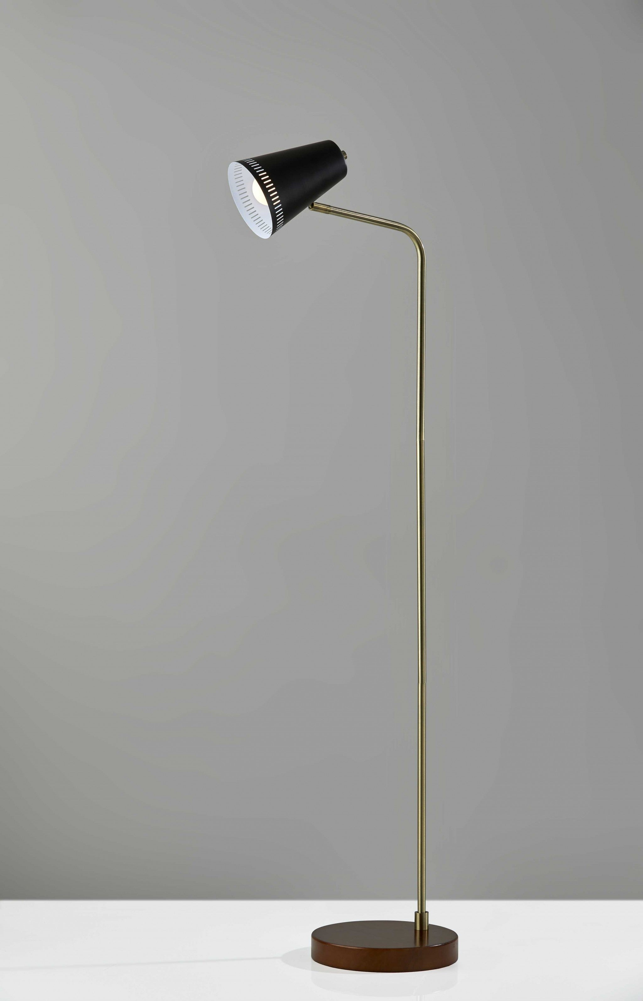 Brass Adjustable Floor Lamp with White Metal Vented Cone Shades