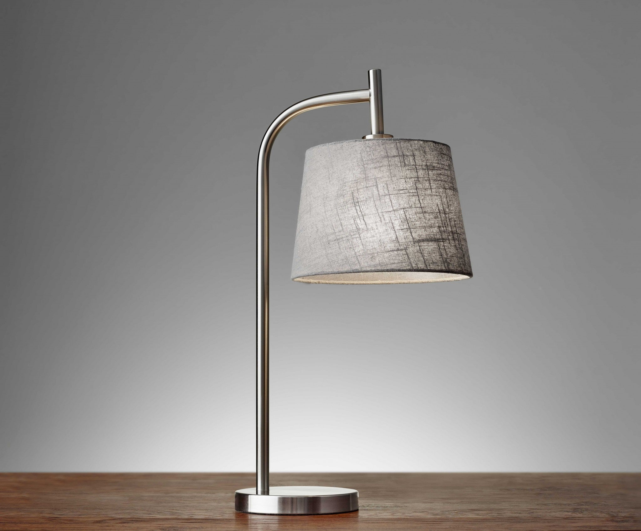"10"" X 12""  X 25"" Brushed Steel Metal Table Lamp"