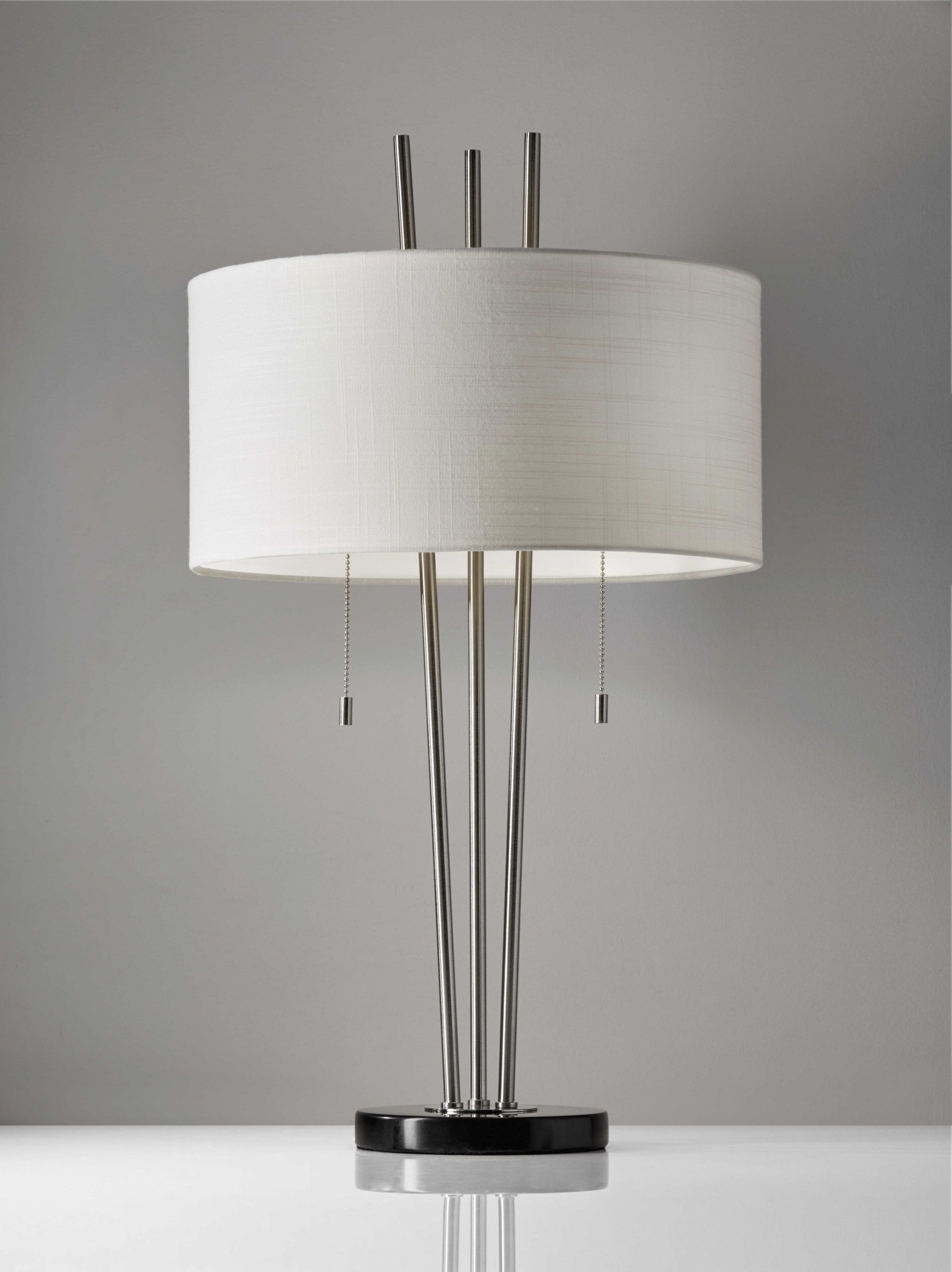 "16"" X 16"" X 28"" Brushed Steel Metal Table Lamp"