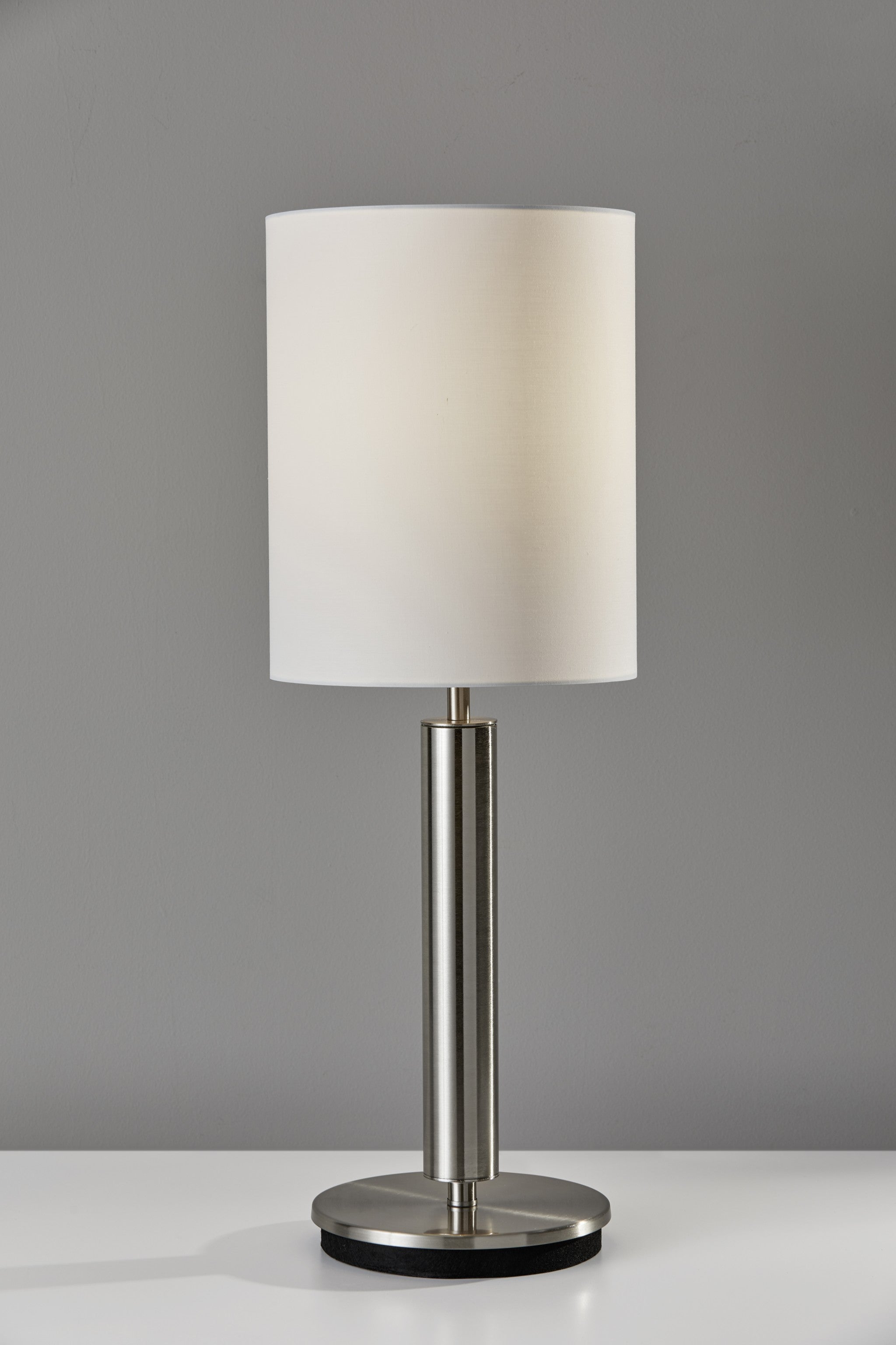 "9.75"" X 9.75"" X 27"" Brushed steel Metal Table Lamp"