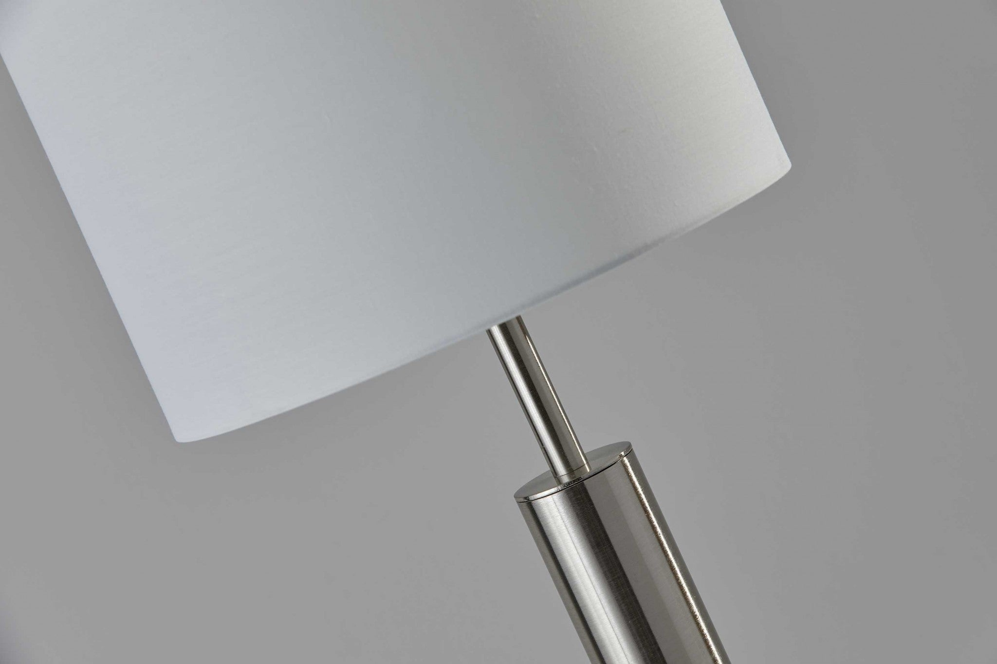 Floor Lamp Brushed Steel Metal Stout Pole with Tall Silk Shade