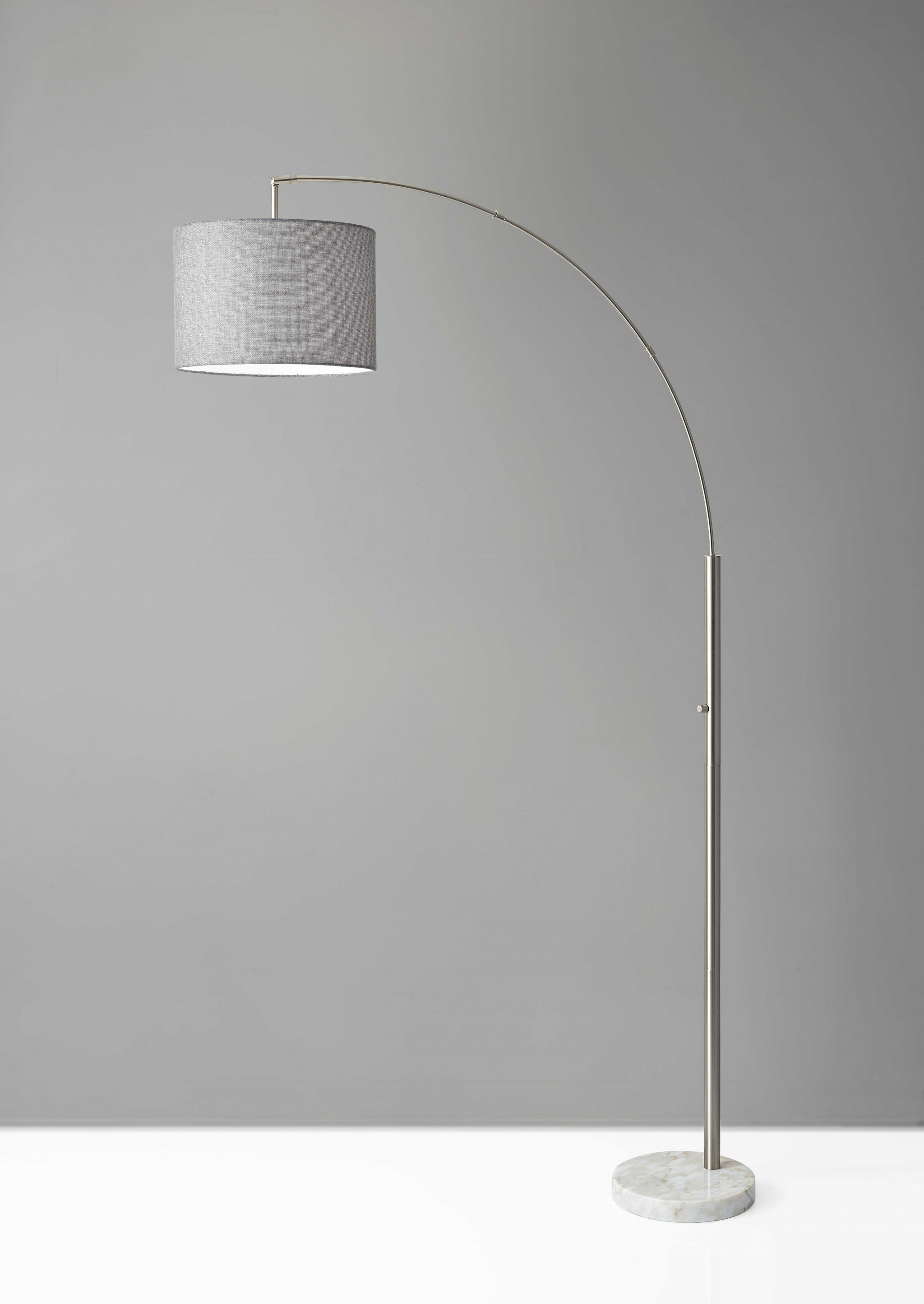 "11"" X 48"" X 73.5""  Brushed Steel Metal Arc Lamp"