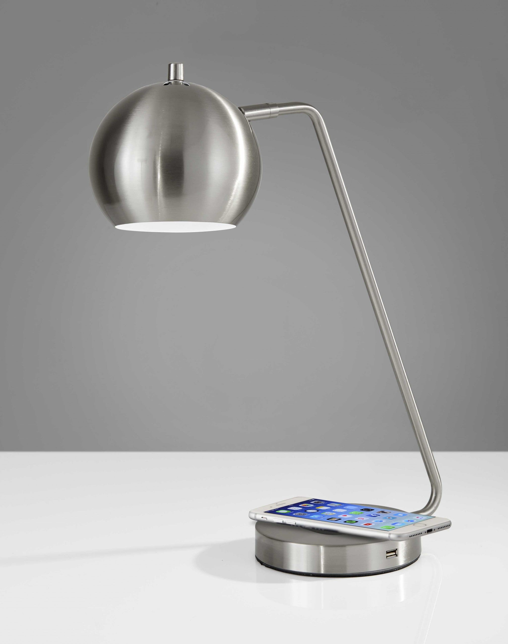 Retro Brushed Steel Wireless Charging Station Desk Lamp