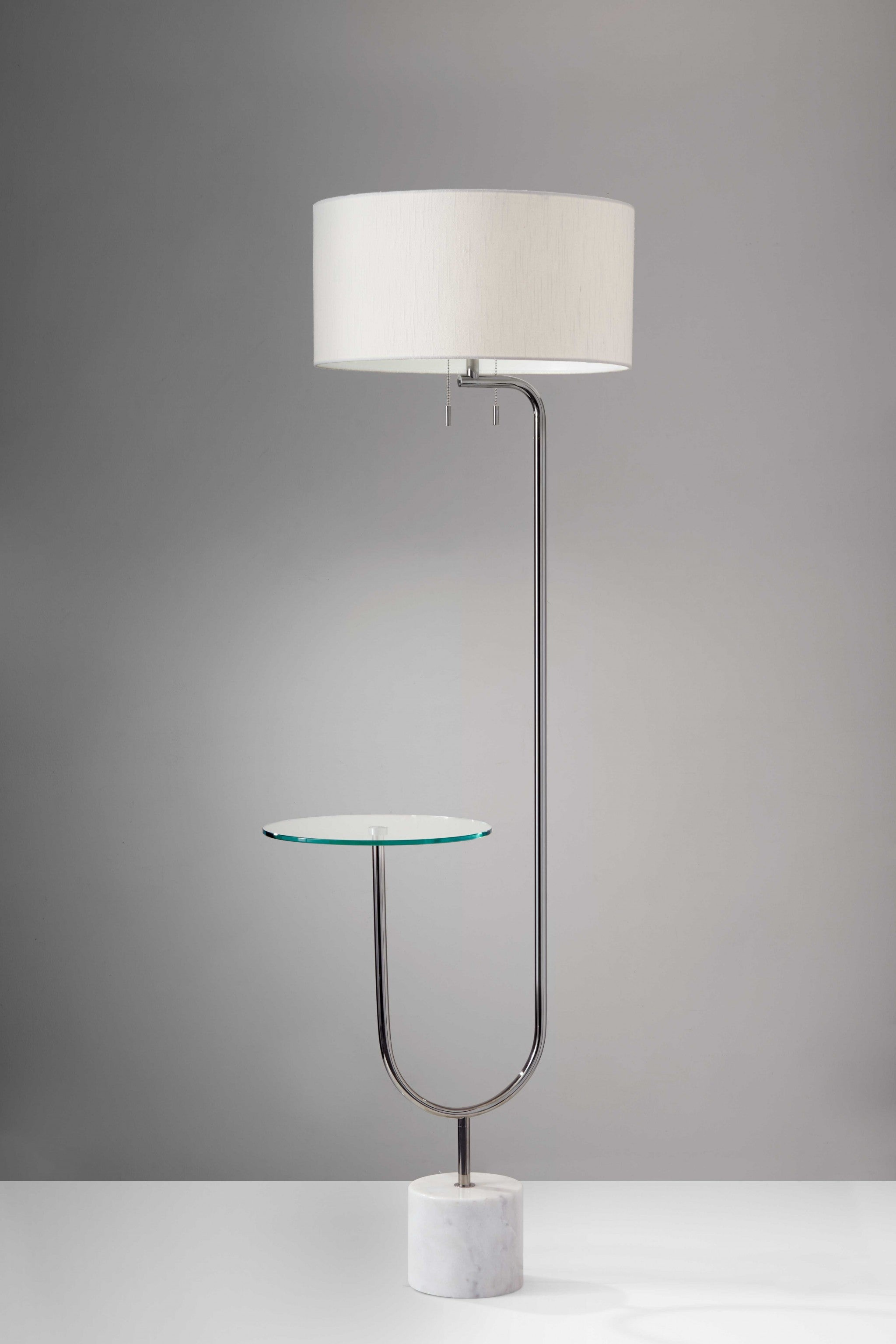 Looped Chrome Floor Lamp with Glass Cocktail Tabletop