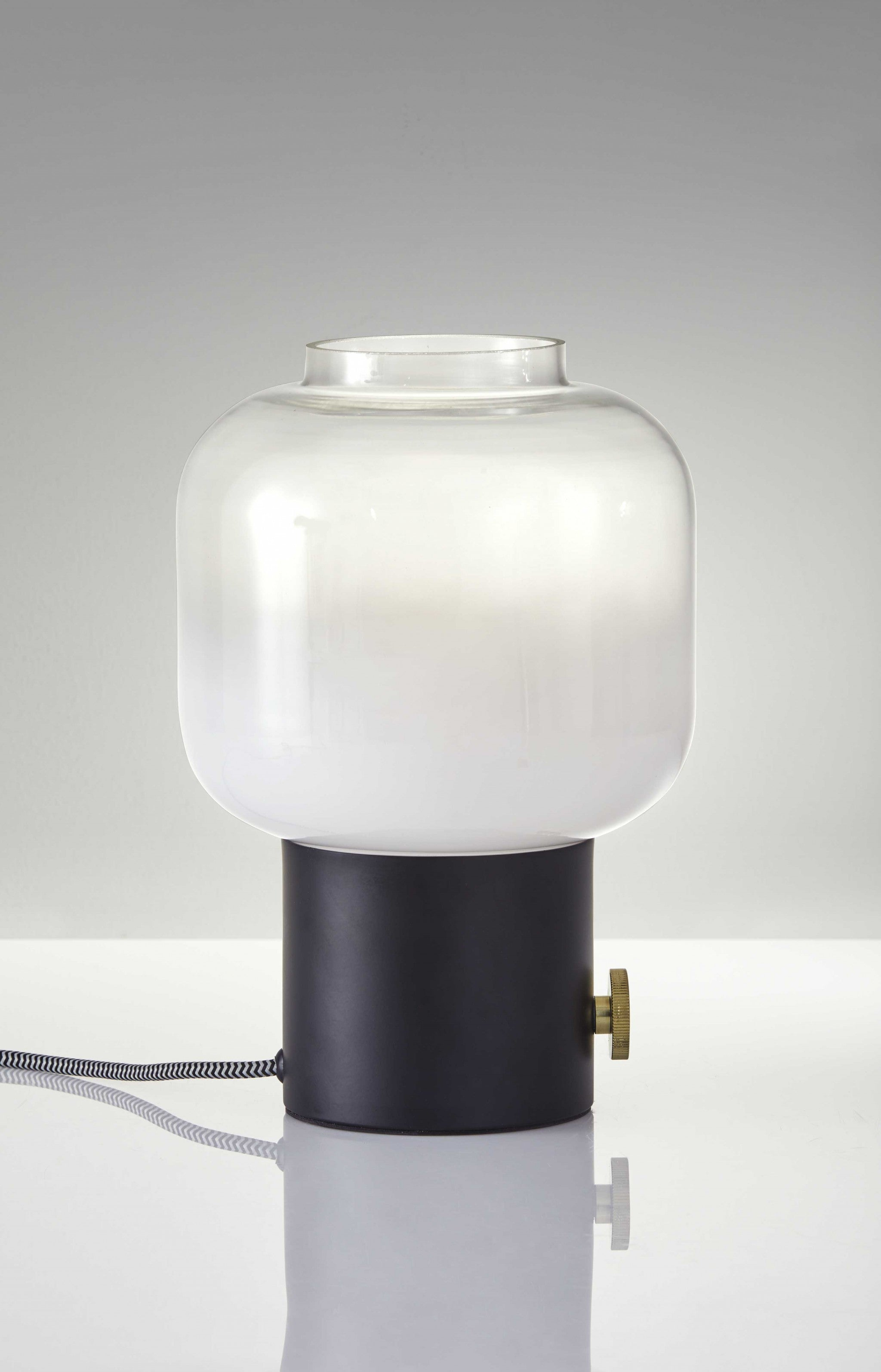 "8"" X 8"" X 12"" Black Glass Table Lamp"
