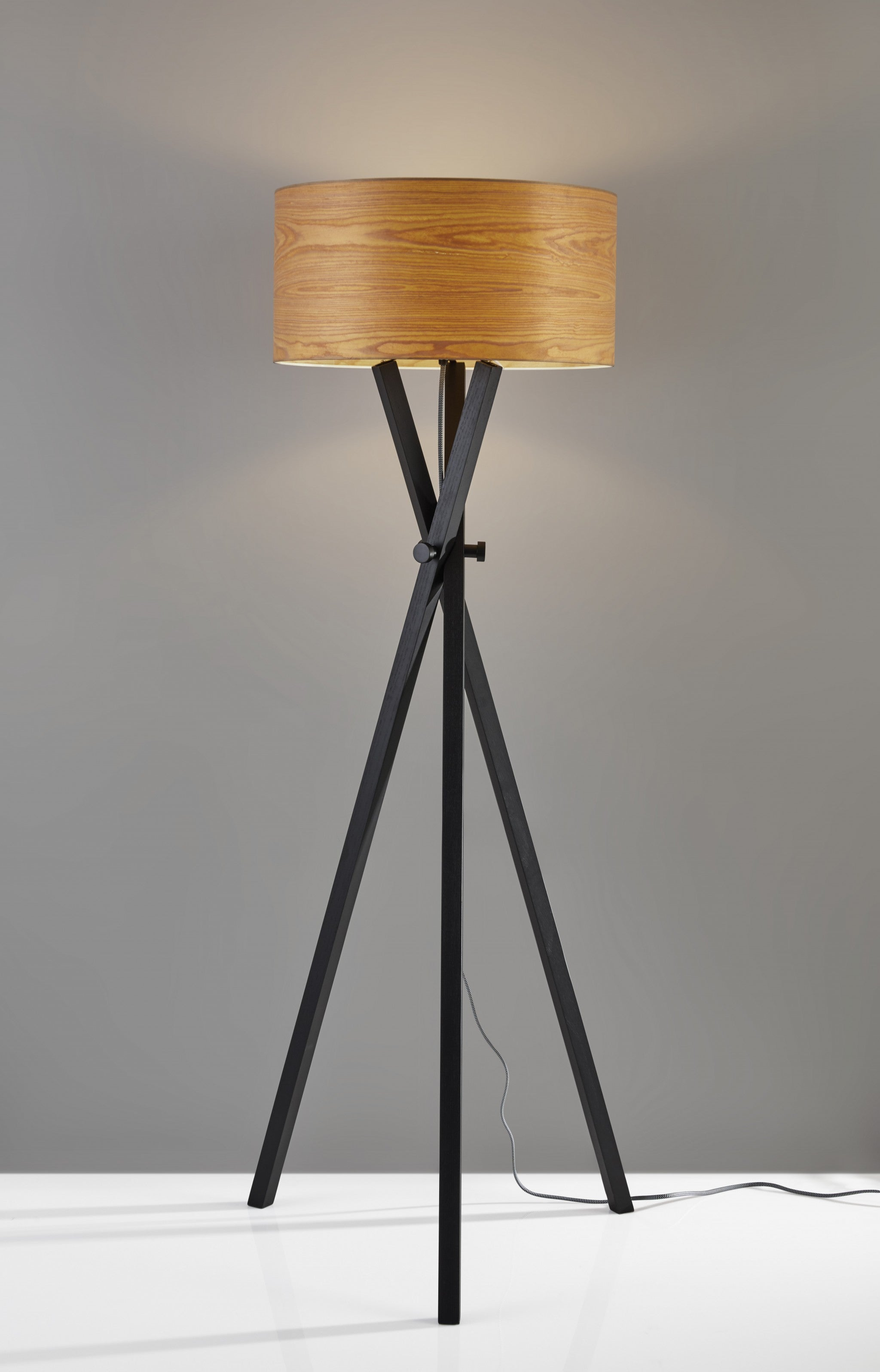 "19.5"" X 19.5"" X 62"" Black Wood/Metal Floor Lamp"