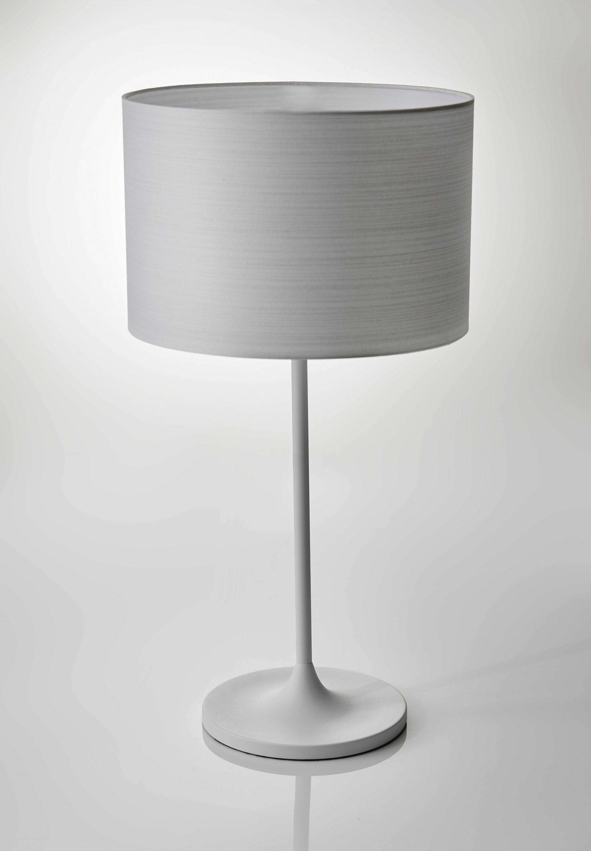 "11.5"" X 11.5"" X 22.5"" White Metal Table Lamp"