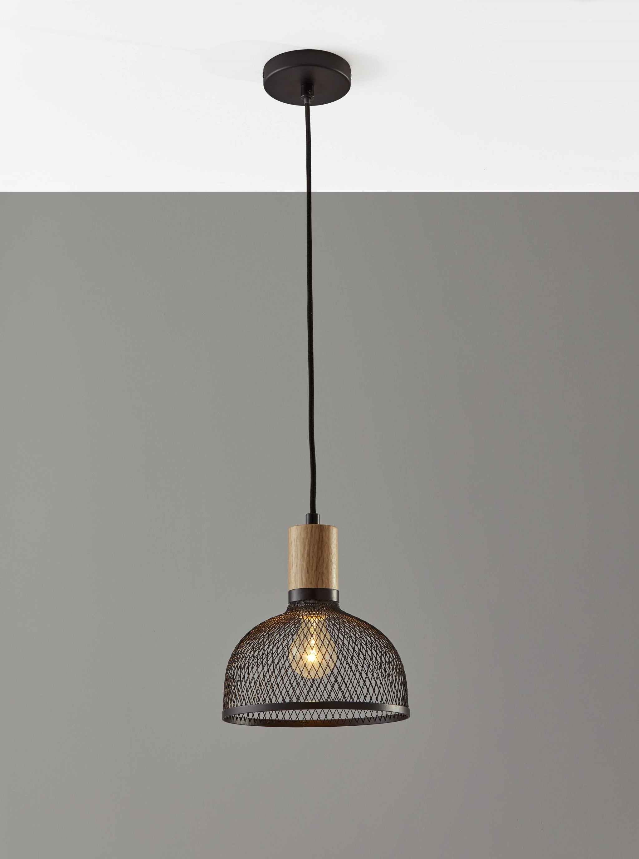 Caged Black Metal Small Ceiling Pendant