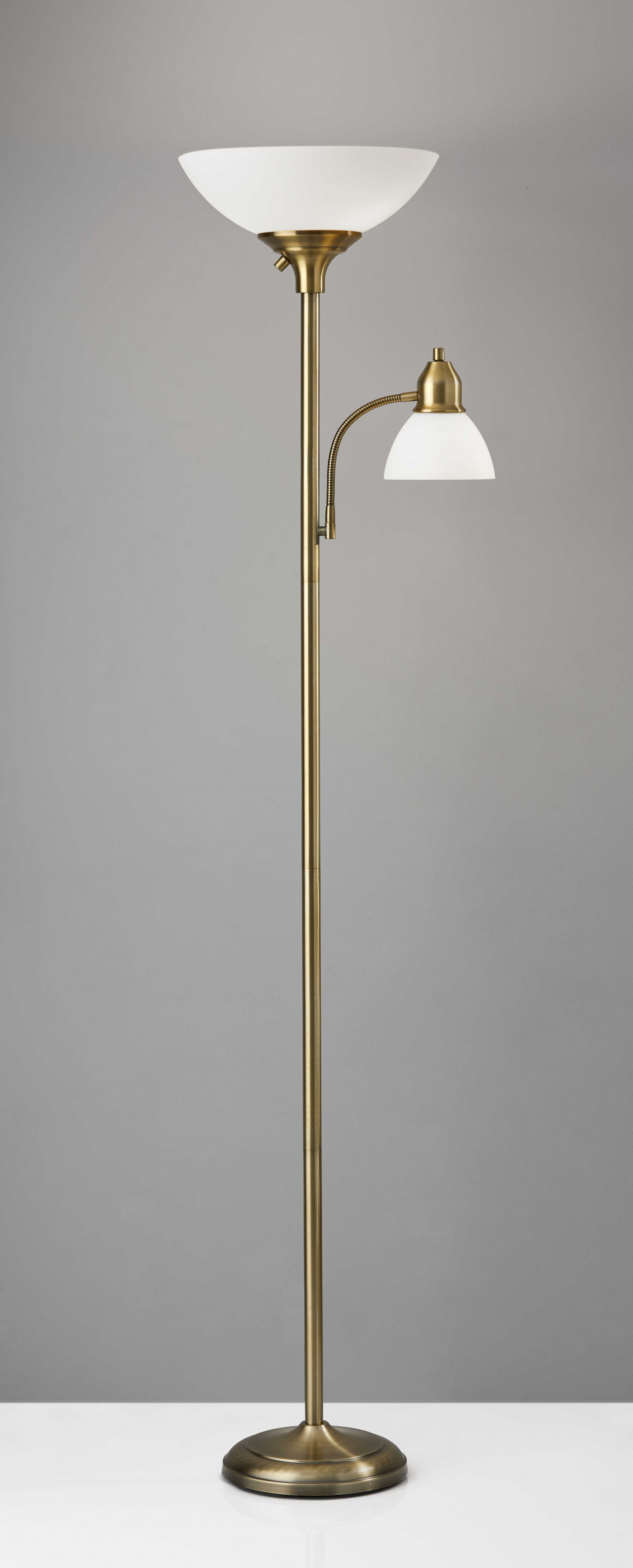 "21"" X 13.75"" X 71"" Brass Metal 300W Combo Torchiere"
