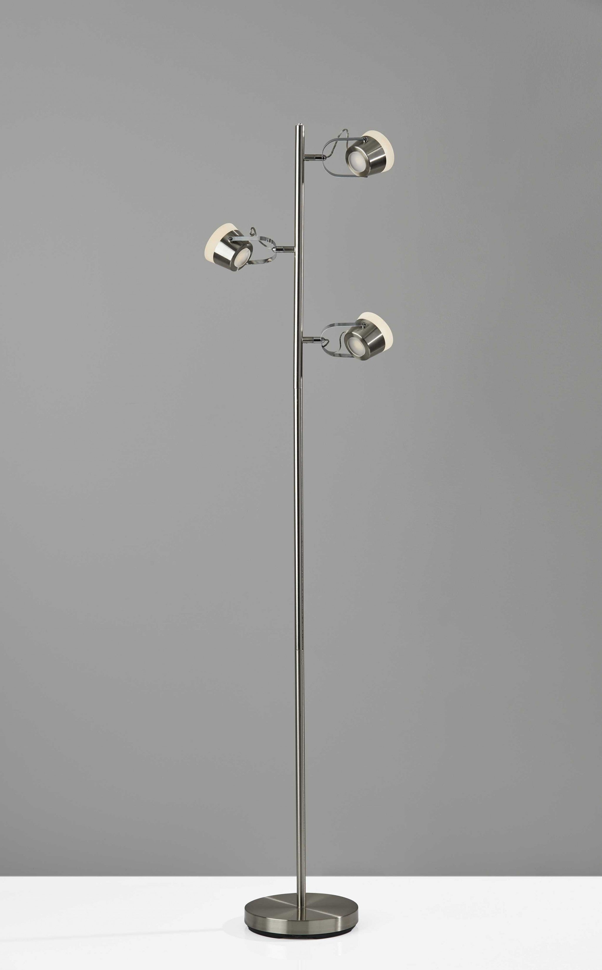 Three Hollywood Spotlights Floor Lamp in Brushed Steel