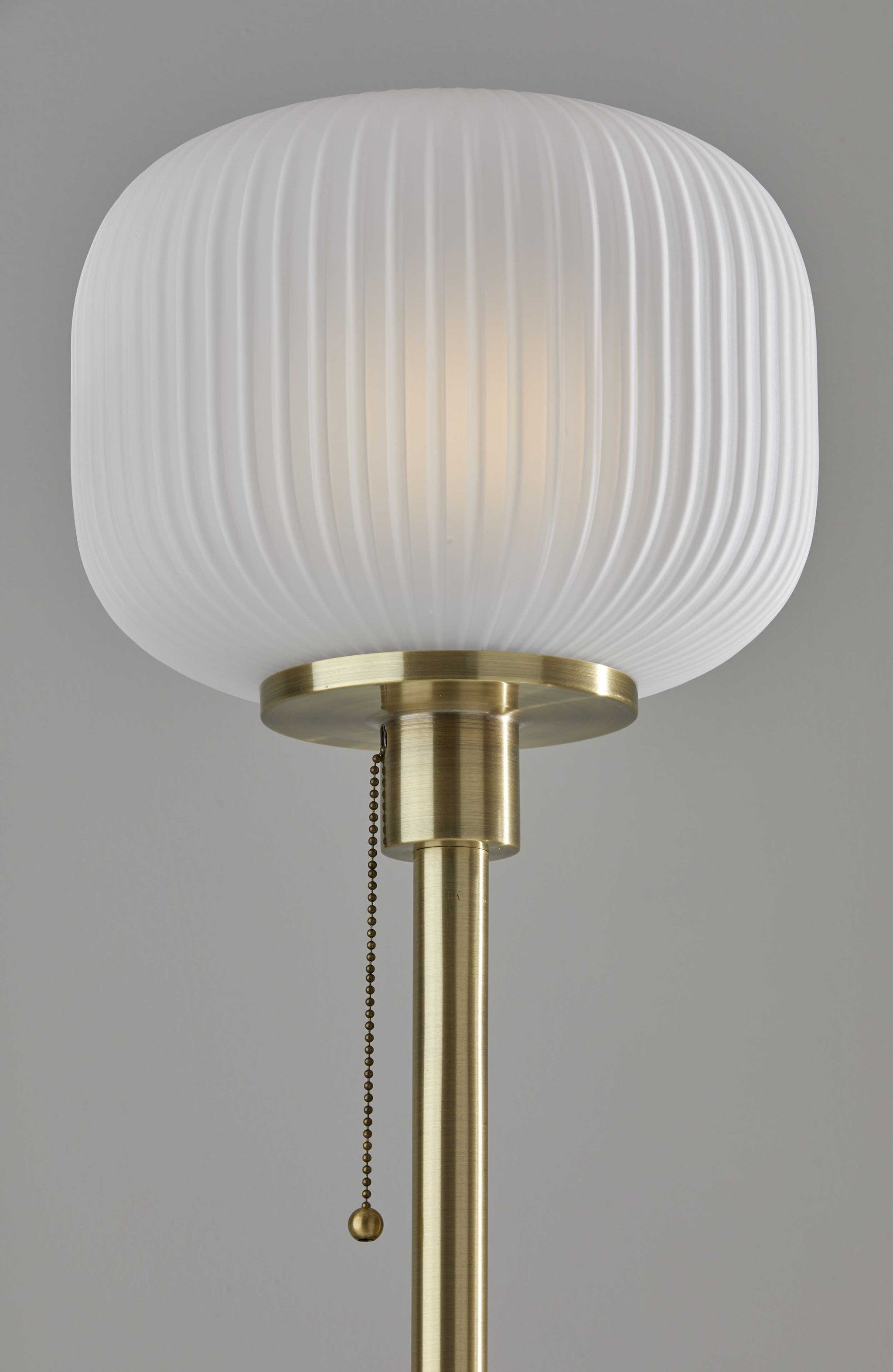 "10"" X 10"" X 65"" Antique Brass  Glass/Metal Floor Lamp"