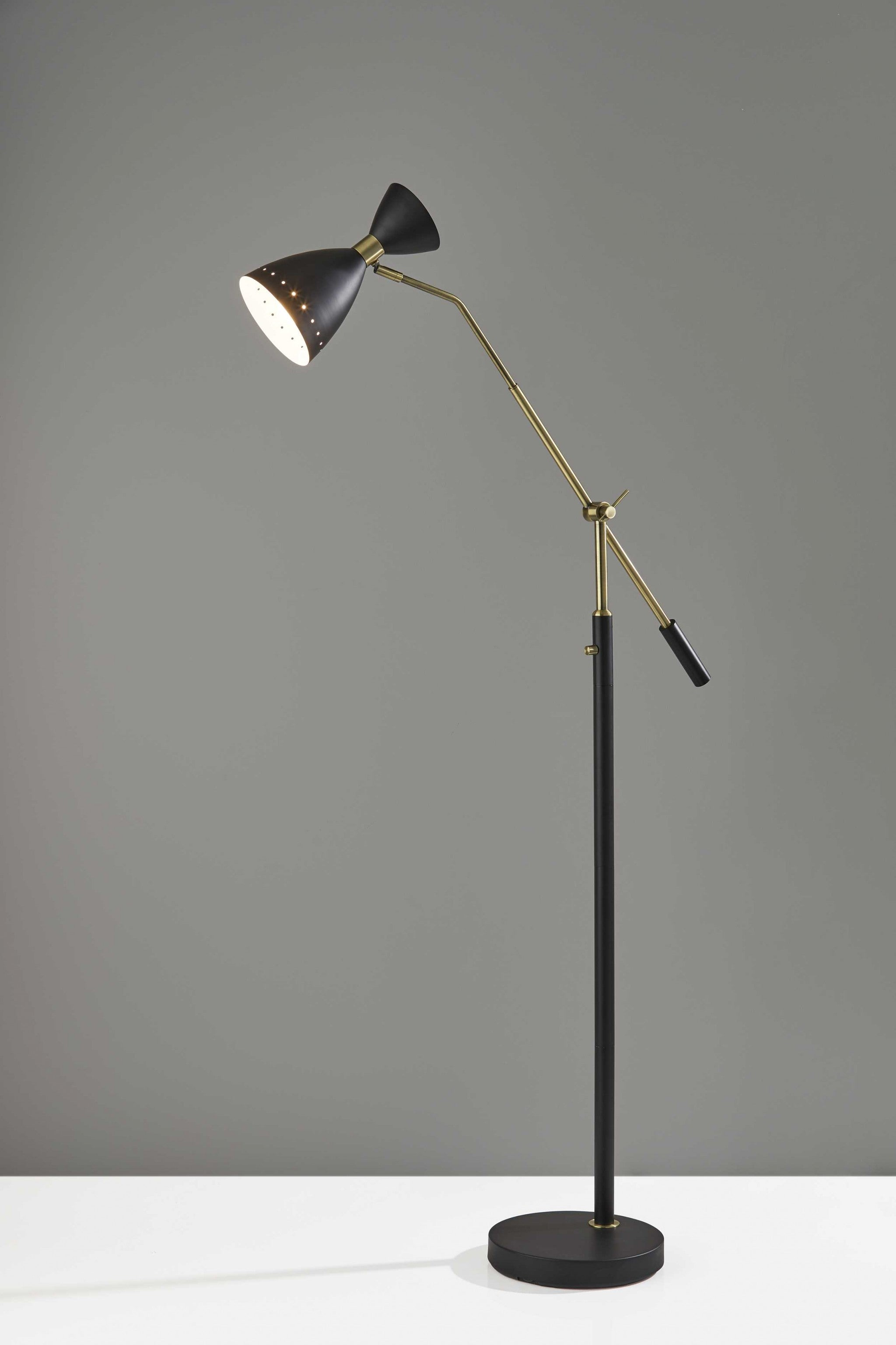 "11"" X 43""  X 66""  Black Metal Adjustable Floor Lamp"