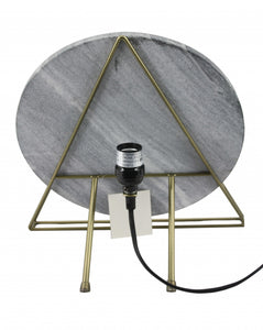 "7"" X 13"" X 13"" Brass Black Marble Galvanised Iron Table Lamp"