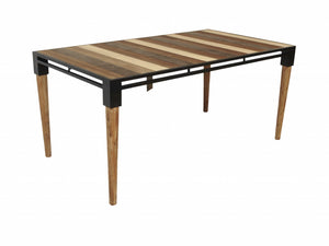 "66"" Natural Acacia and Mid Century Black Dining Table"