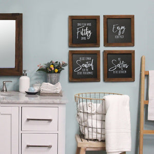 S/4 Matte Black Bathroom Wood Frame Wall Art