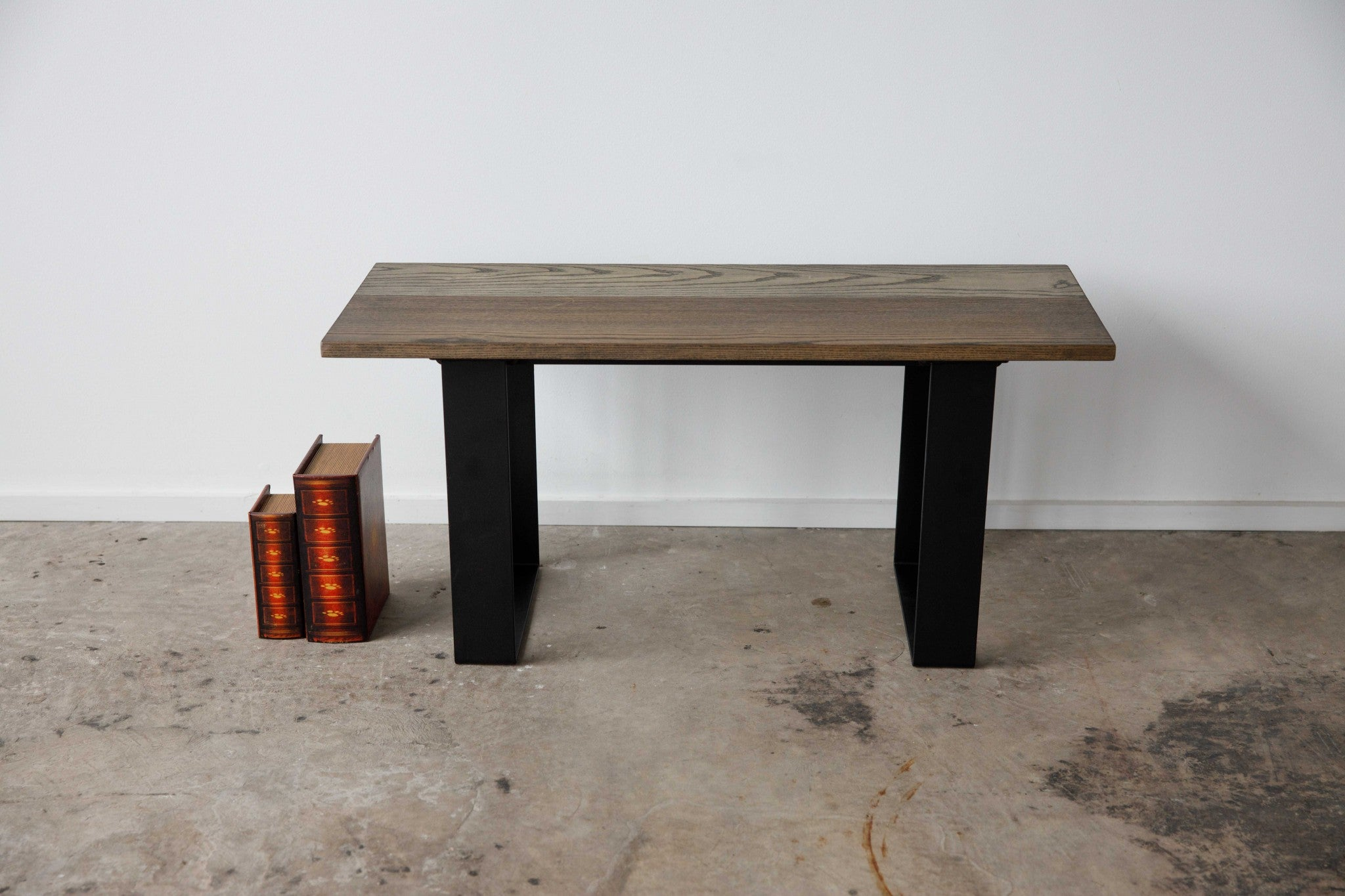 "36"" X 14"" X 17"" Chocolate Ash Wood And Steel Entryway Dining Bench"