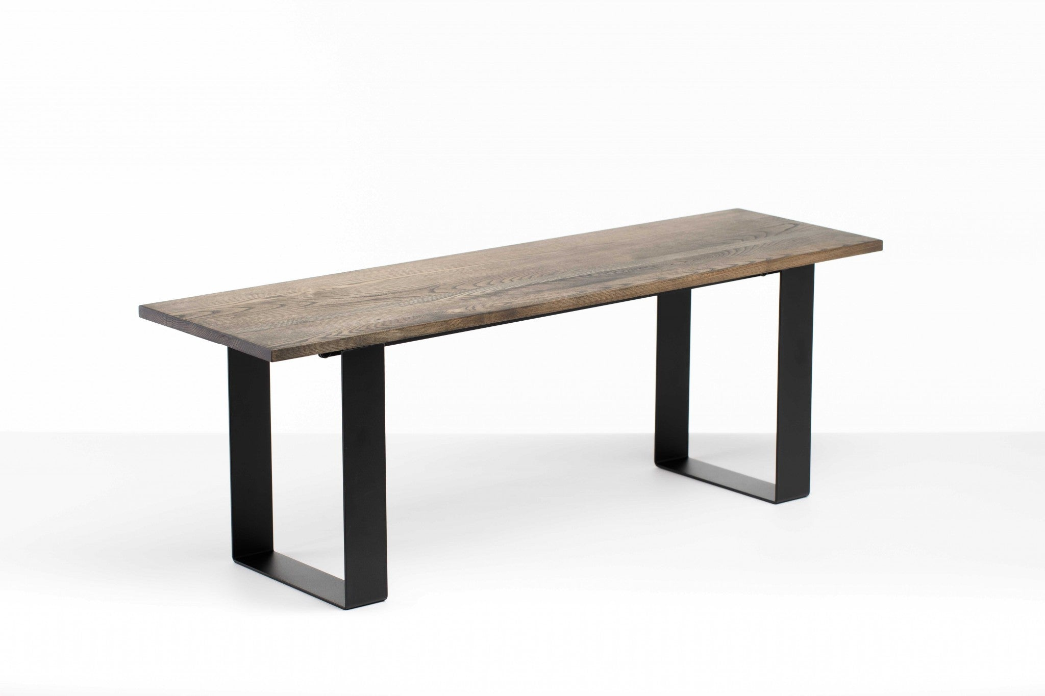 "48"" Charcoal Ash Wood And Black Steel Entryway Dining Bench"