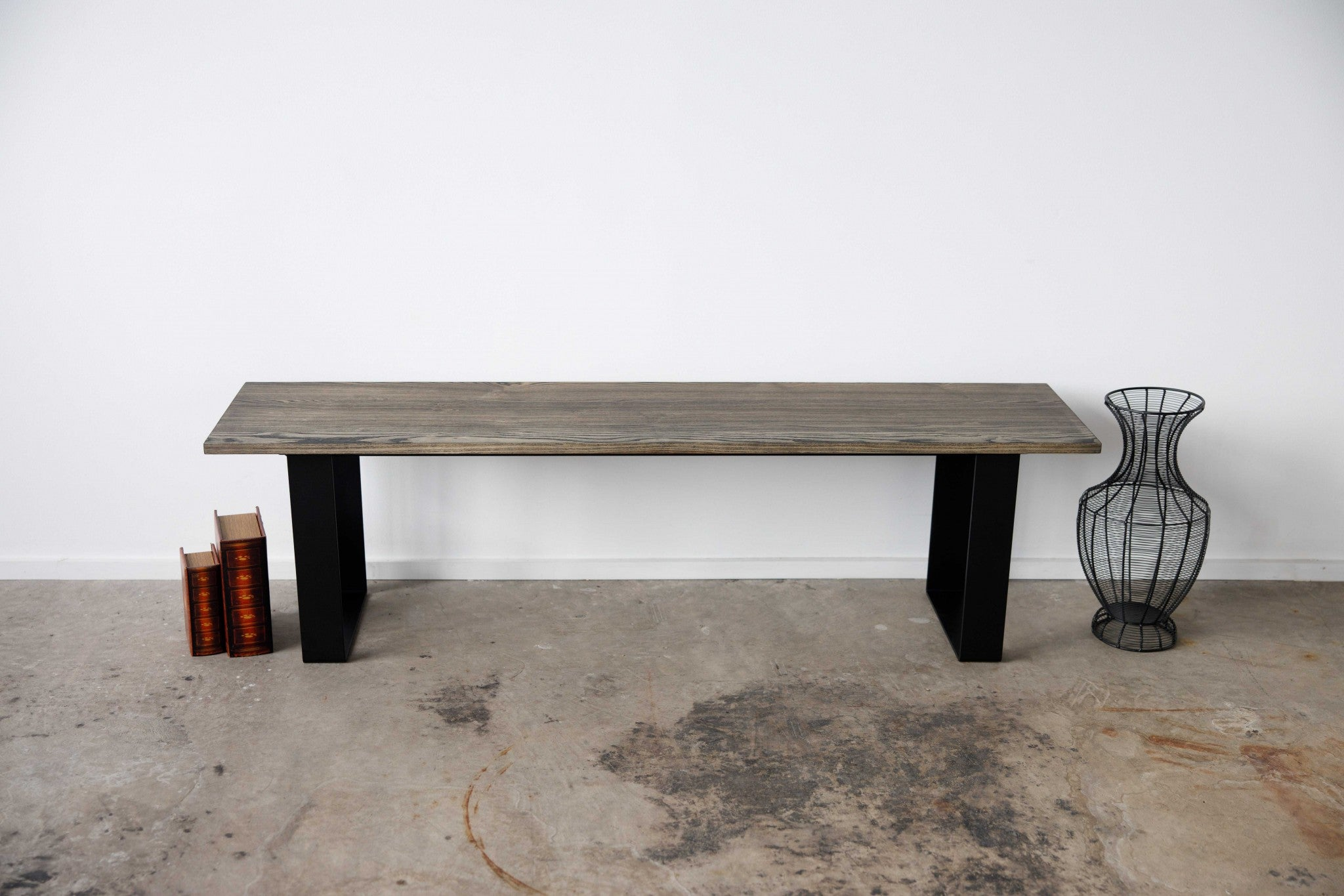 "60"" Charcoal Ash Wood And Black Steel Entryway Dining Bench"