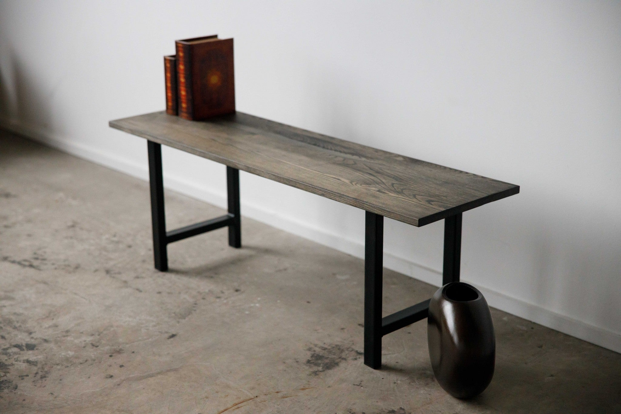 "48"" Dark Finish Ash Wood And Black Steel Entryway or Dining Bench"