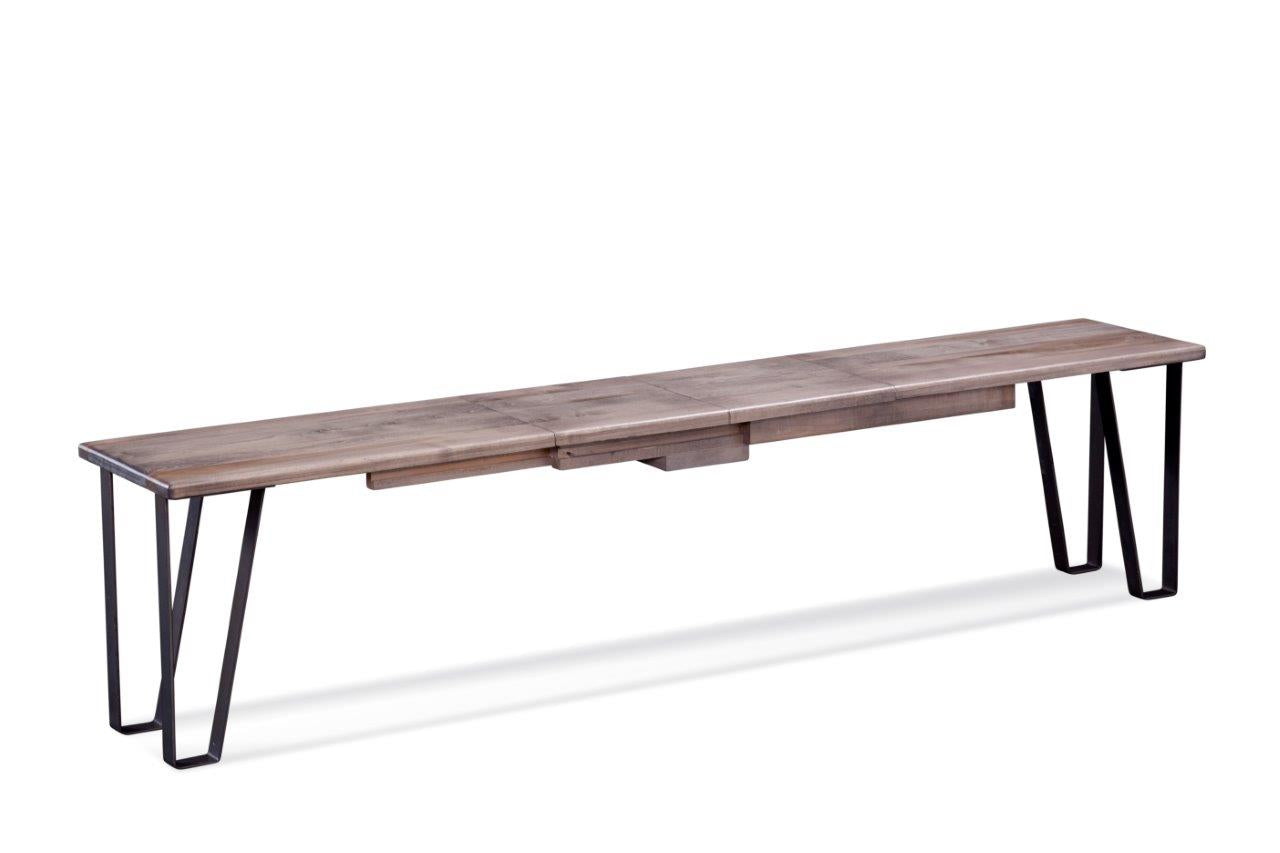 "48"" X 14"" X 18"" Ash Gray Rough Cut Maple And Steel Bench"