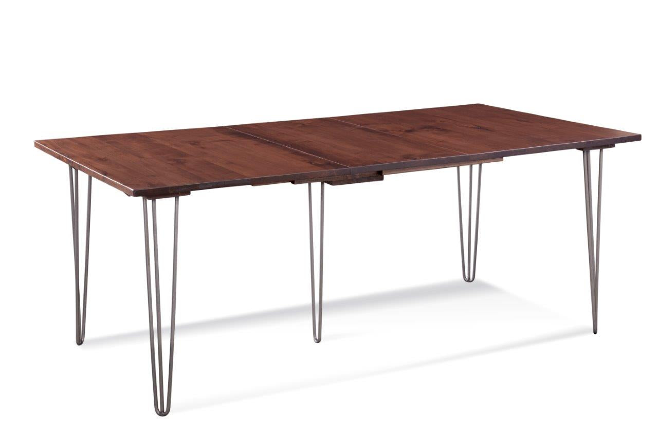 "Deep Maple And Steel Dining Table with Two 12"" Leaves"
