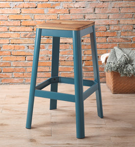 Contrast Teal and Natural Wood Bar Stool