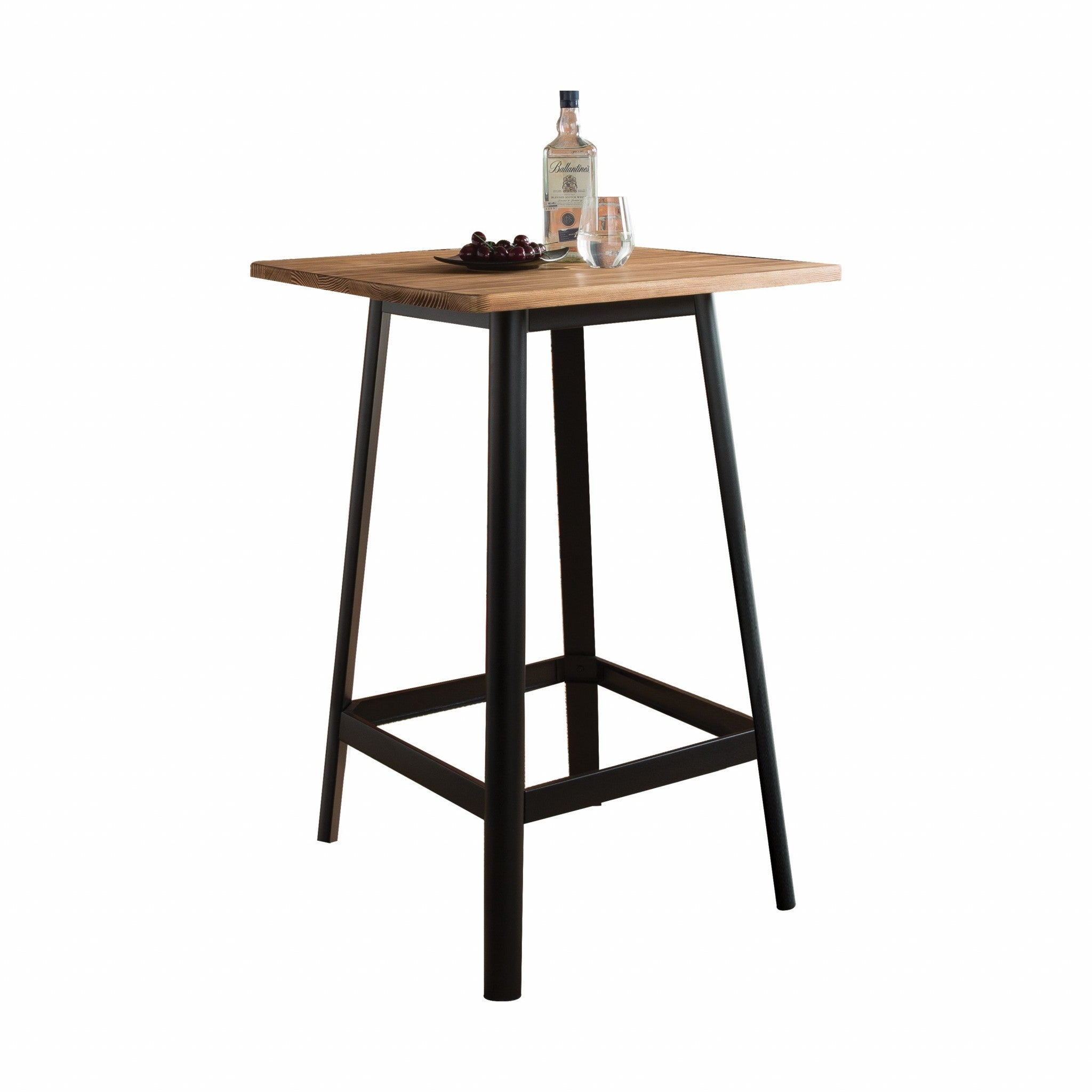 "28"" X 28"" X 41"" Natural & Black Wood Bar Table"
