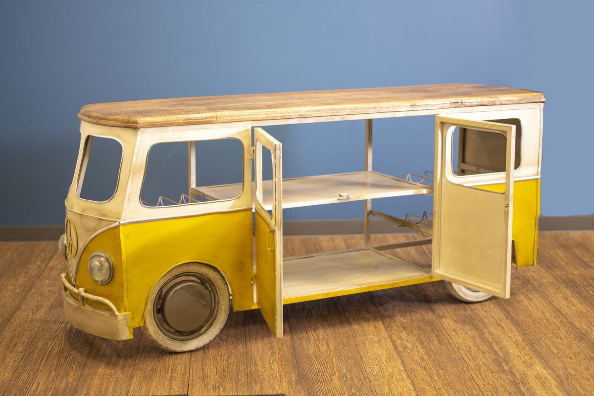 "24"" X 38"" X 38"" Yellow and White Peace Bus Wine Bar"