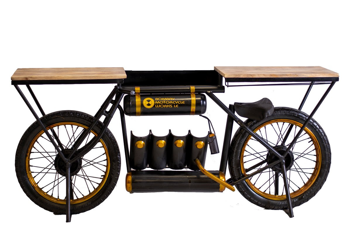 "16"" X 71.5"" X 32.5"" Black and Gold Bombay Motorcycle Bar"