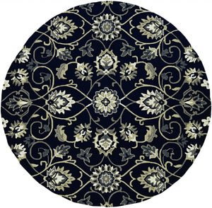 8'x10' Navy Blue Hand Woven UV Treated Traditional Floral Vines Indoor Outdoor Area Rug