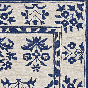 3'x5' Sand Blue Hand Hooked UV Treated Traditional Floral Design Indoor Outdoor Rug